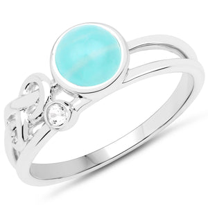 LoveHuang 1.03 Carats Genuine Amazonite and White Topaz Ring Solid .925 Sterling Silver With Rhodium Plating