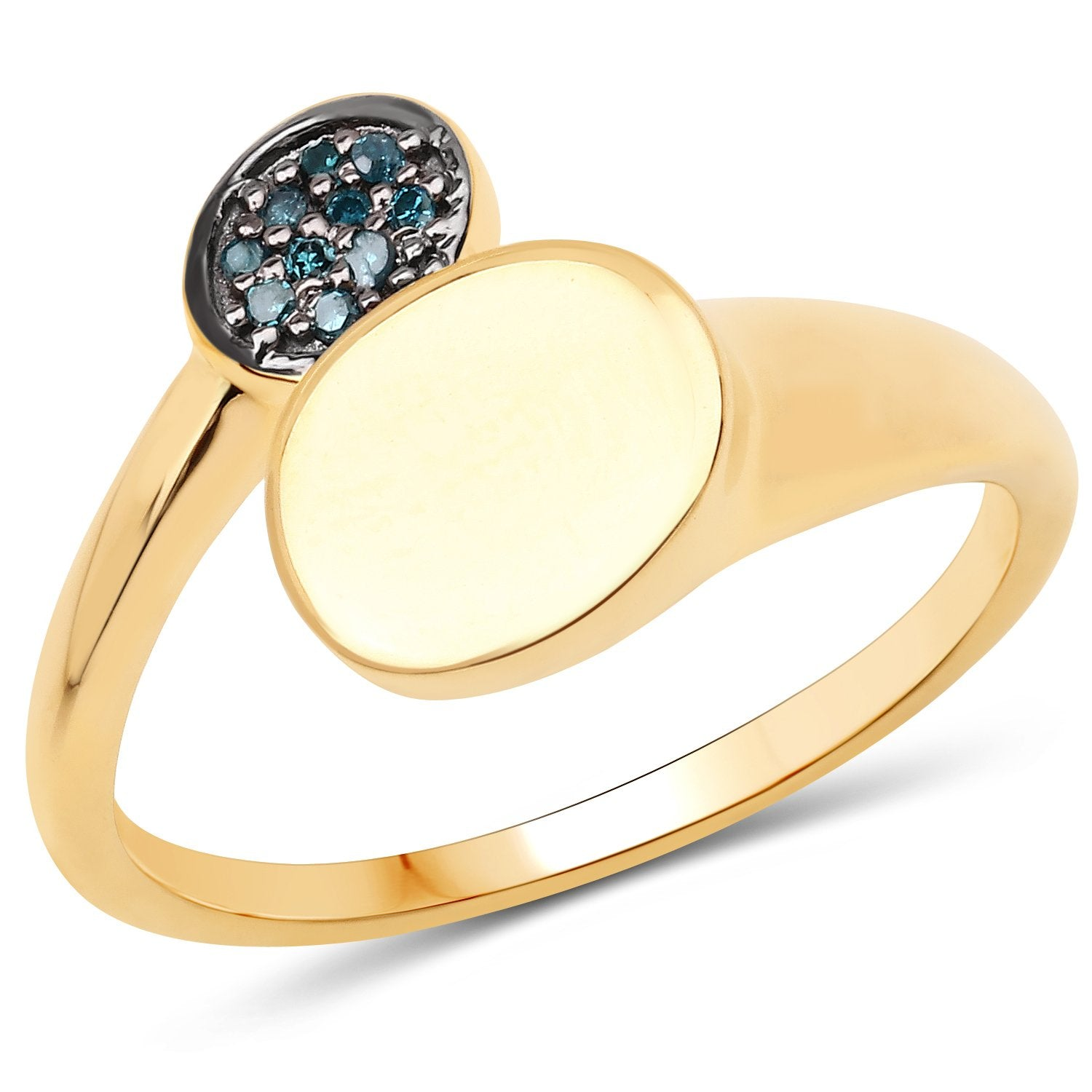 LoveHuang 0.05 Carats Genuine Blue Diamond (I-J, I2-I3) Minimalist Ring Solid .925 Sterling Silver With 18KT Yellow Gold Plating