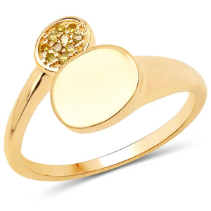 LoveHuang 0.05 Carats Genuine Yellow Diamond (I-J, I2-I3) Minimalist Ring Solid .925 Sterling Silver With 18KT Yellow Gold Plating