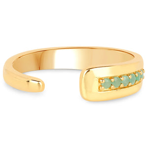 LoveHuang 0.10 Carats Genuine Emerald Ring Solid .925 Sterling Silver With 18KT Yellow Gold Plating