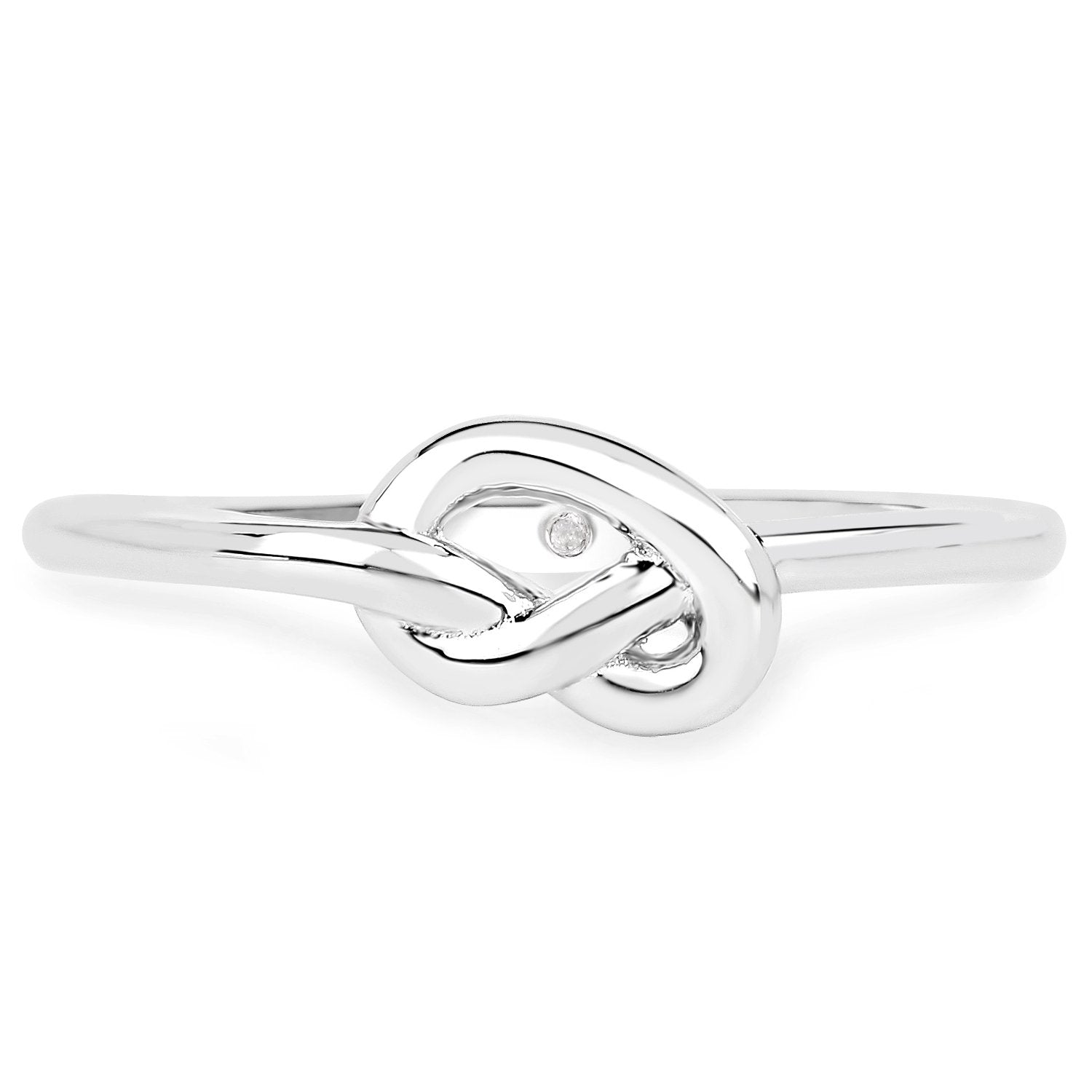 LoveHuang 0.01 Carats Genuine White Diamond (I-J, I2-I3) Knot Ring Solid .925 Sterling Silver With Rhodium Plating
