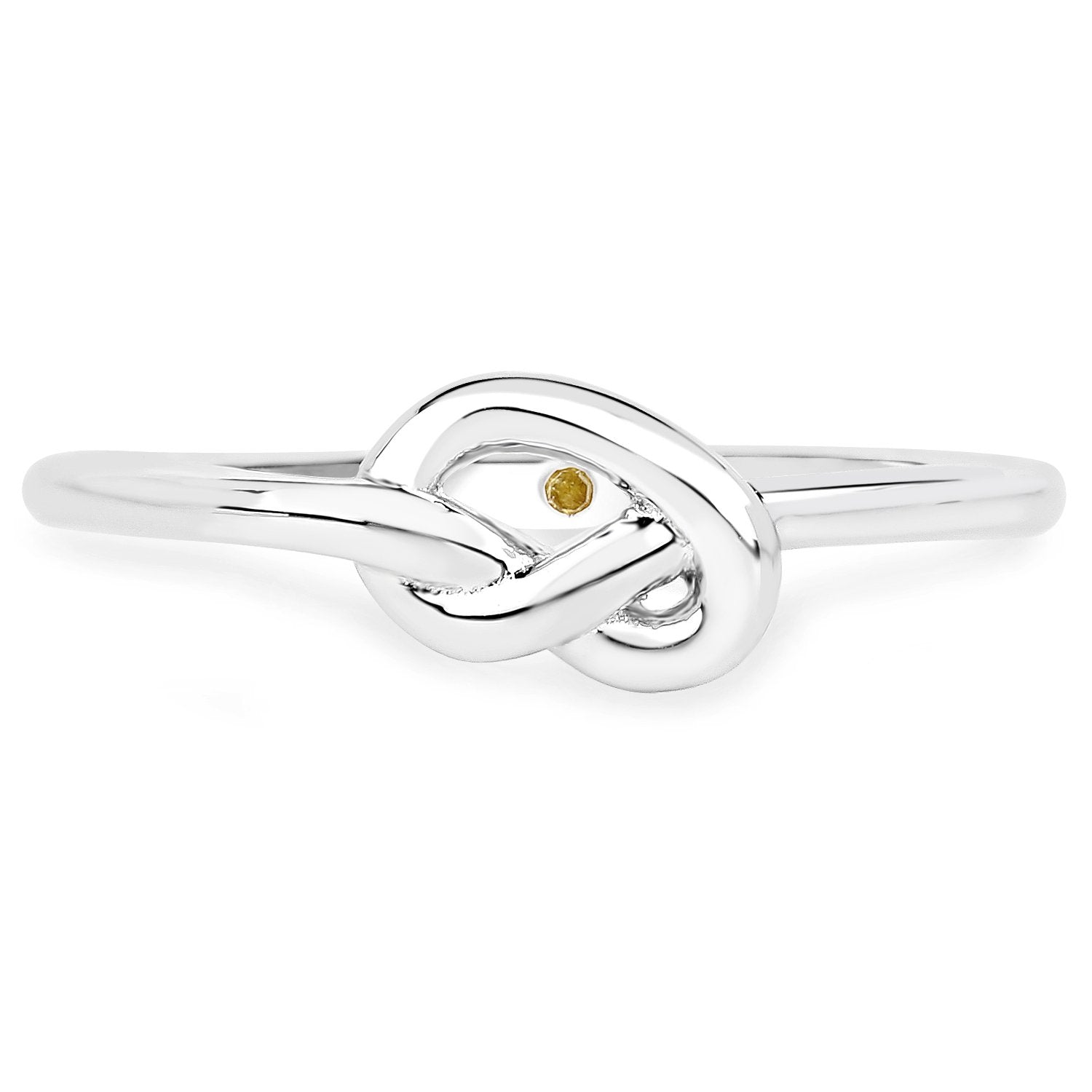 LoveHuang 0.01 Carats Genuine Yellow Diamond (I-J, I2-I3) Knot Ring Solid .925 Sterling Silver With Rhodium Plating