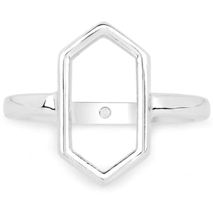 LoveHuang 0.01 Carats Genuine White Diamond (I-J, I2-I3) Minimalist Ring Solid .925 Sterling Silver With Rhodium Plating