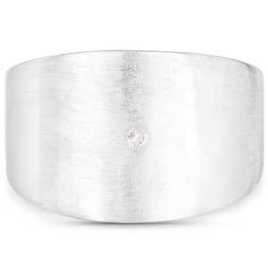 LoveHuang 0.01 Carats Genuine White Diamond (I-J, I2-I3) Minimalist Ring Solid .925 Sterling Silver With Rhodium Plating, Matte Finish