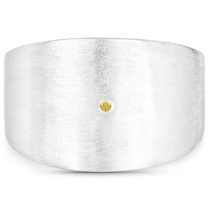 LoveHuang 0.01 Carats Genuine Yellow Diamond (I-J, I2-I3) Minimalist Ring Solid .925 Sterling Silver With Rhodium Plating, Matte Finish