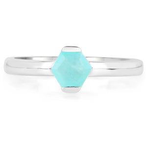 LoveHuang 0.51 Carats Genuine Amazonite Ring Solid .925 Sterling Silver With Rhodium Plating