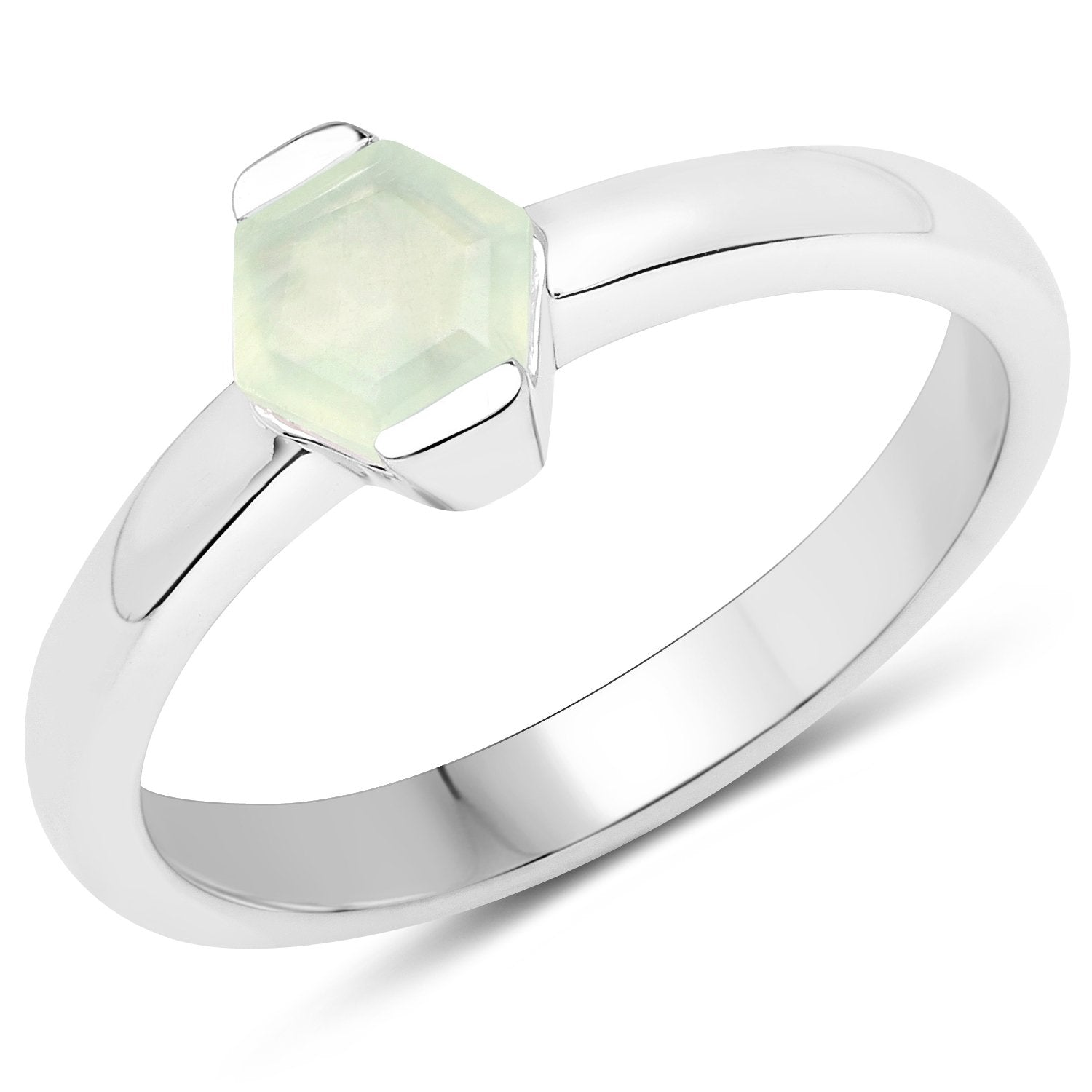 LoveHuang 0.54 Carats Genuine Prehnite Ring Solid .925 Sterling Silver With Rhodium Plating
