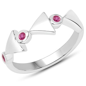 LoveHuang 0.14 Carats Genuine Ruby Arrowhead Ring Solid .925 Sterling Silver With Rhodium Plating