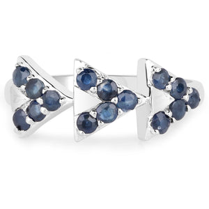 LoveHuang 0.54 Carats Genuine Blue Sapphire Arrowhead Ring Solid .925 Sterling Silver With Rhodium Plating