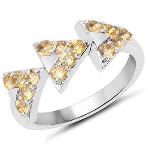 LoveHuang 0.42 Carats Genuine Citrine Ring Solid .925 Sterling Silver With Rhodium Plating