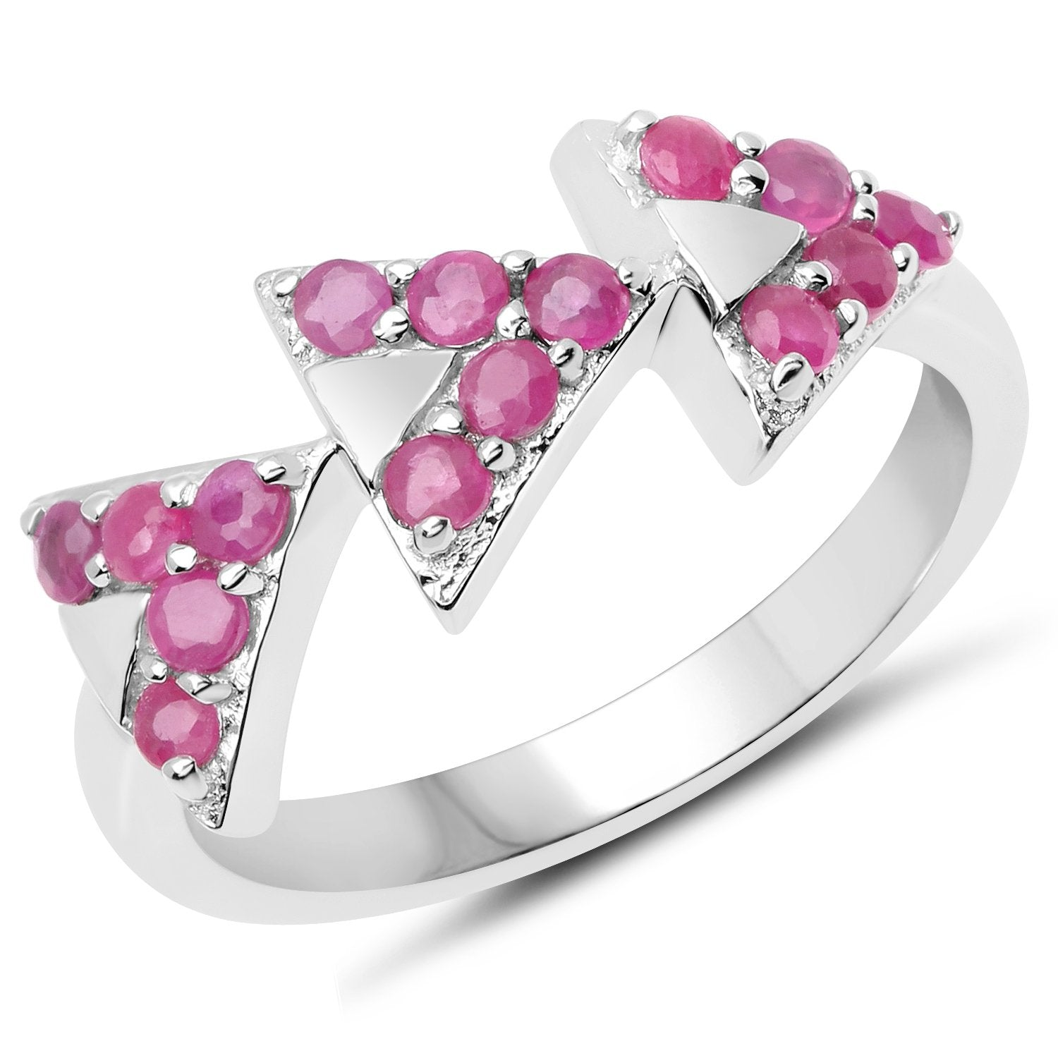 LoveHuang 0.68 Carats Genuine Ruby Arrowhead Ring Solid .925 Sterling Silver With Rhodium Plating