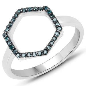LoveHuang 0.15 Carats Genuine Blue Diamond (I-J, I2-I3) Minimalist Ring Solid .925 Sterling Silver With Rhodium Plating