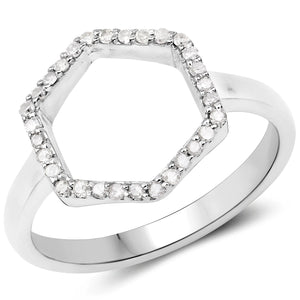 LoveHuang 0.15 Carats Genuine White Diamond (I-J, I2-I3) Minimalist Ring Solid .925 Sterling Silver With Rhodium Plating