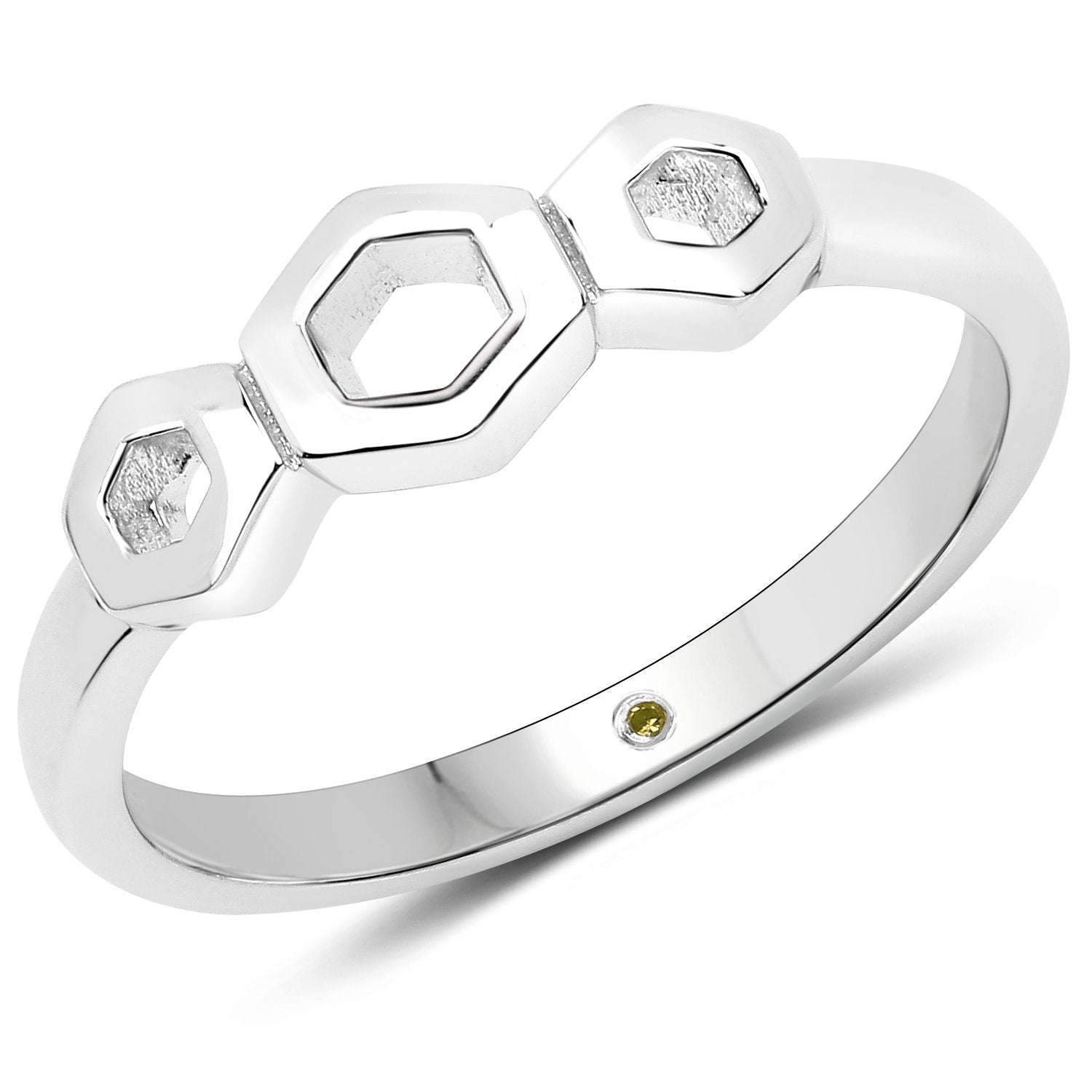LoveHuang 0.01 Carats Genuine Yellow Diamond (I-J, I2-I3) Minimalist Ring Solid .925 Sterling Silver With Rhodium Plating