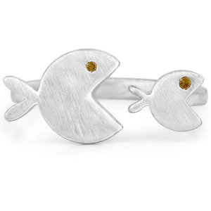 LoveHuang 0.01 Carats Genuine Yellow Diamond (I-J, I2-I3) Fish Ring Solid .925 Sterling Silver With Rhodium Plating, Matte Finish
