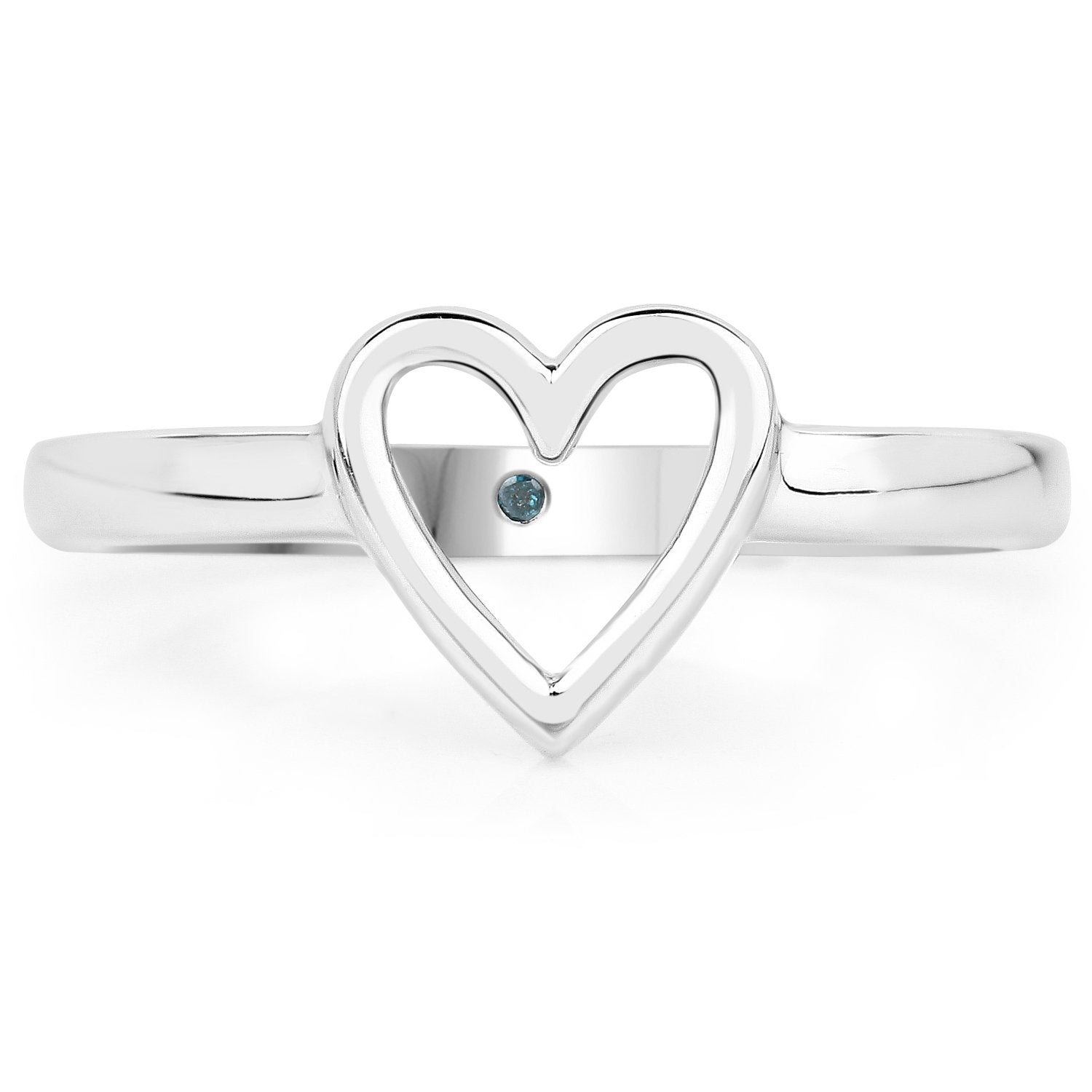 LoveHuang 0.01 Carats Genuine Blue Diamond (I-J, I2-I3) Heart Ring Solid .925 Sterling Silver With Rhodium Plating