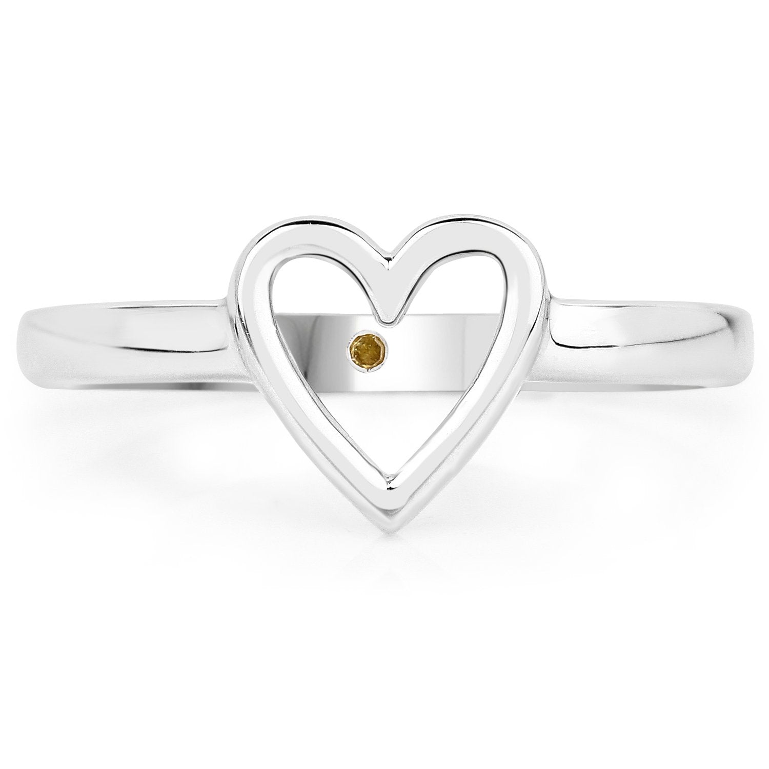 LoveHuang 0.01 Carats Genuine Yellow Diamond (I-J, I2-I3) Heart Ring Solid .925 Sterling Silver With Rhodium Plating