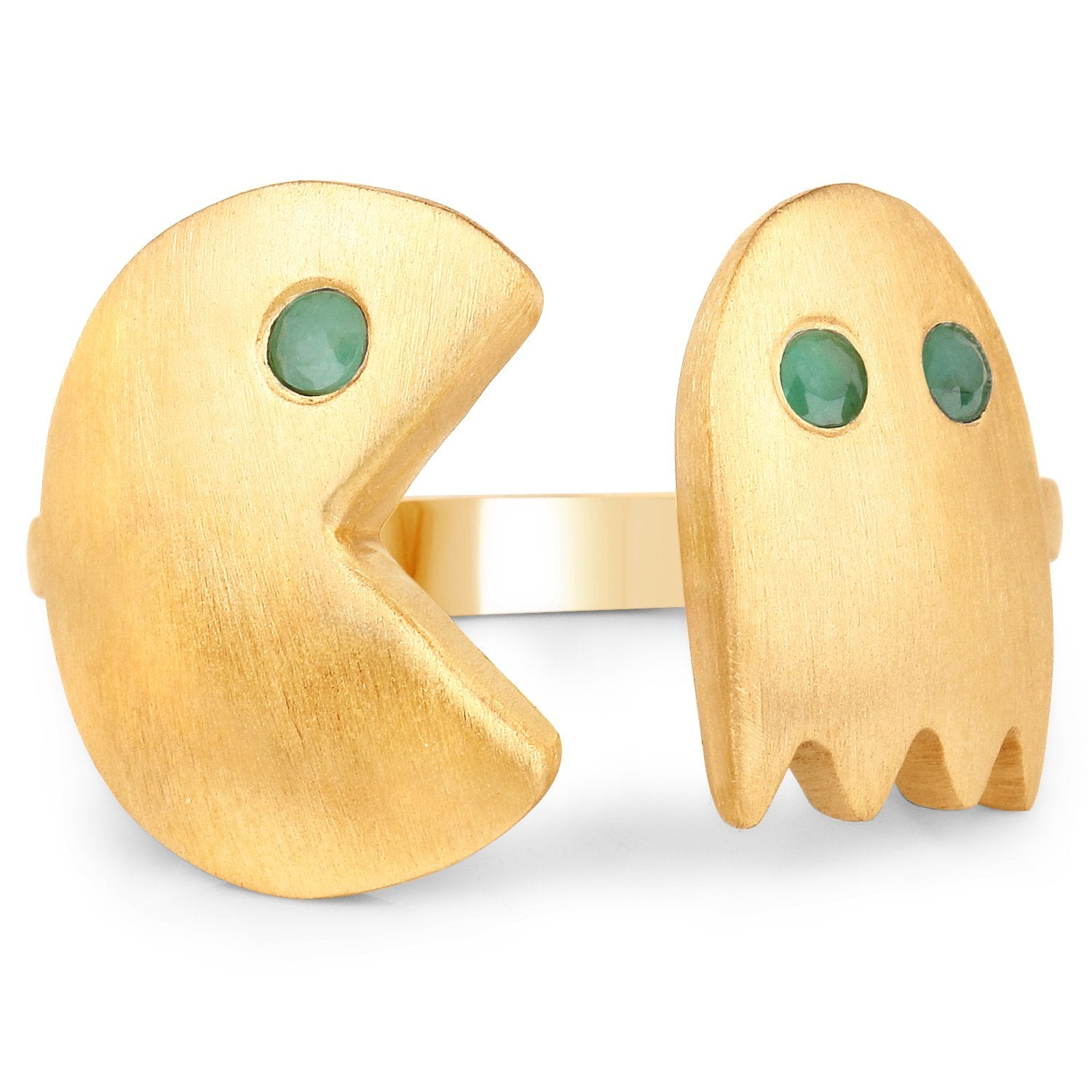LoveHuang 0.09 Carats Genuine Emerald Pacman Ring Solid .925 Sterling Silver With 18KT Yellow Gold Plating, Matte Finish