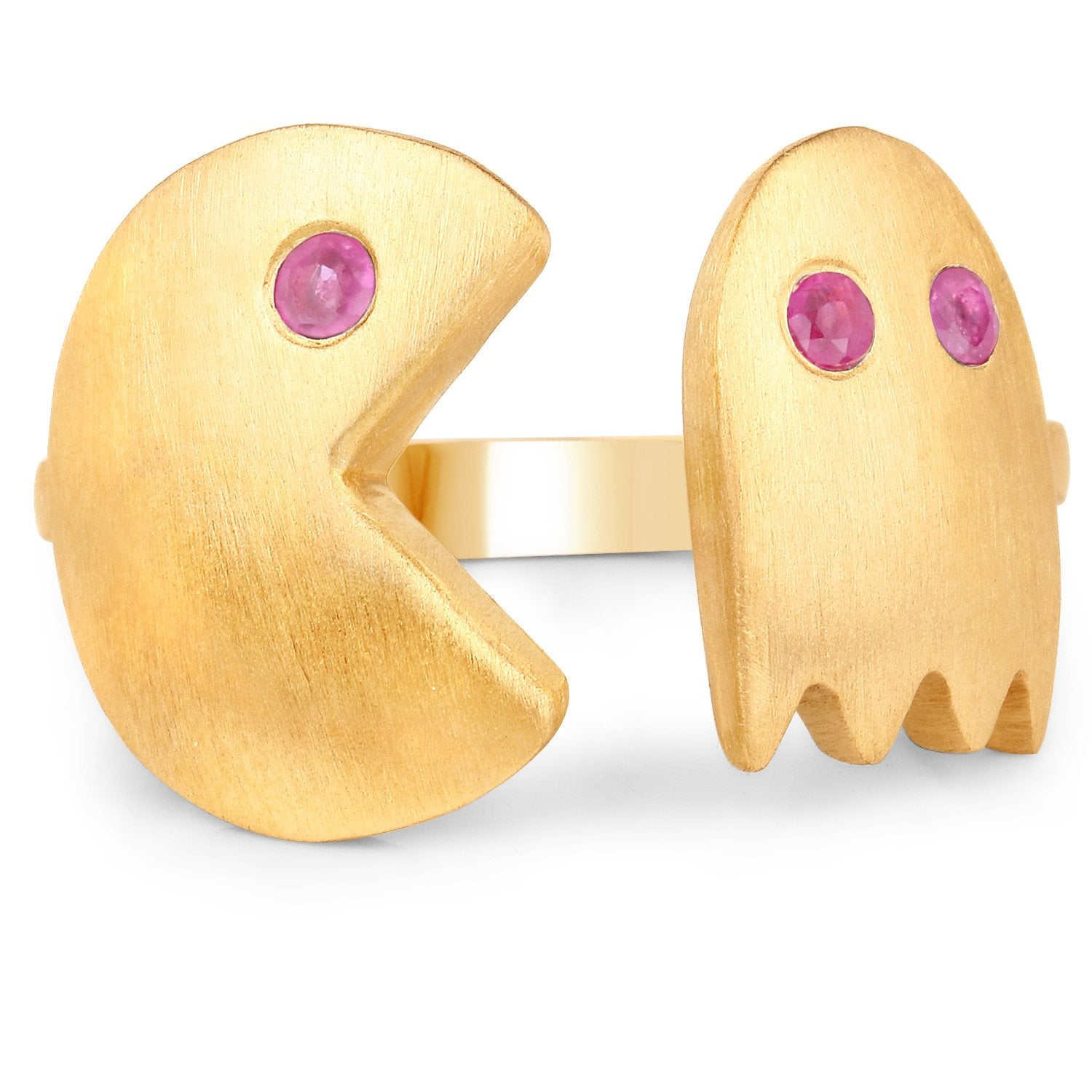 LoveHuang 0.14 Carats Genuine Ruby Pacman Ring Solid .925 Sterling Silver With 18KT Yellow Gold Plating, Matte Finish