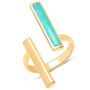 LoveHuang 4.05 Carats Genuine Amazonite Bar Ring Solid .925 Sterling Silver With 18KT Yellow Gold Plating