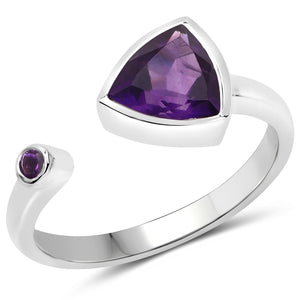 LoveHuang 0.84 Carats Genuine Amethyst Trillion Ring Solid .925 Sterling Silver With Rhodium Plating