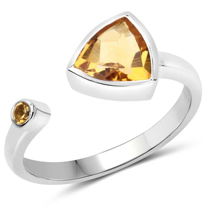 LoveHuang 0.93 Carats Genuine Citrine Trillion Ring Solid .925 Sterling Silver With Rhodium Plating
