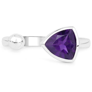 LoveHuang 0.81 Carats Genuine Amethyst Trillion Ball Ring Solid .925 Sterling Silver With Rhodium Plating