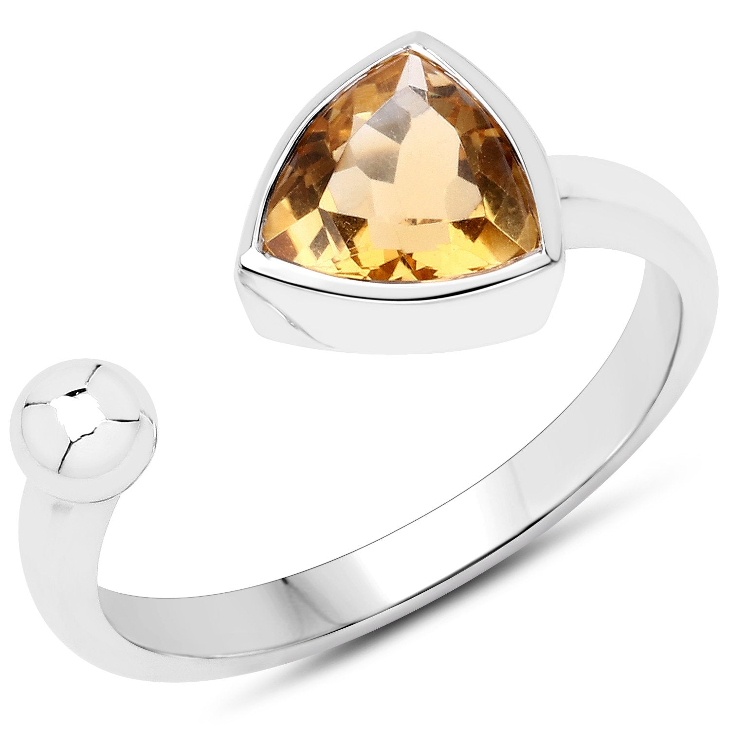 LoveHuang 0.90 Carats Genuine Citrine Trillion-Ball Ring Solid .925 Sterling Silver With Rhodium Plating