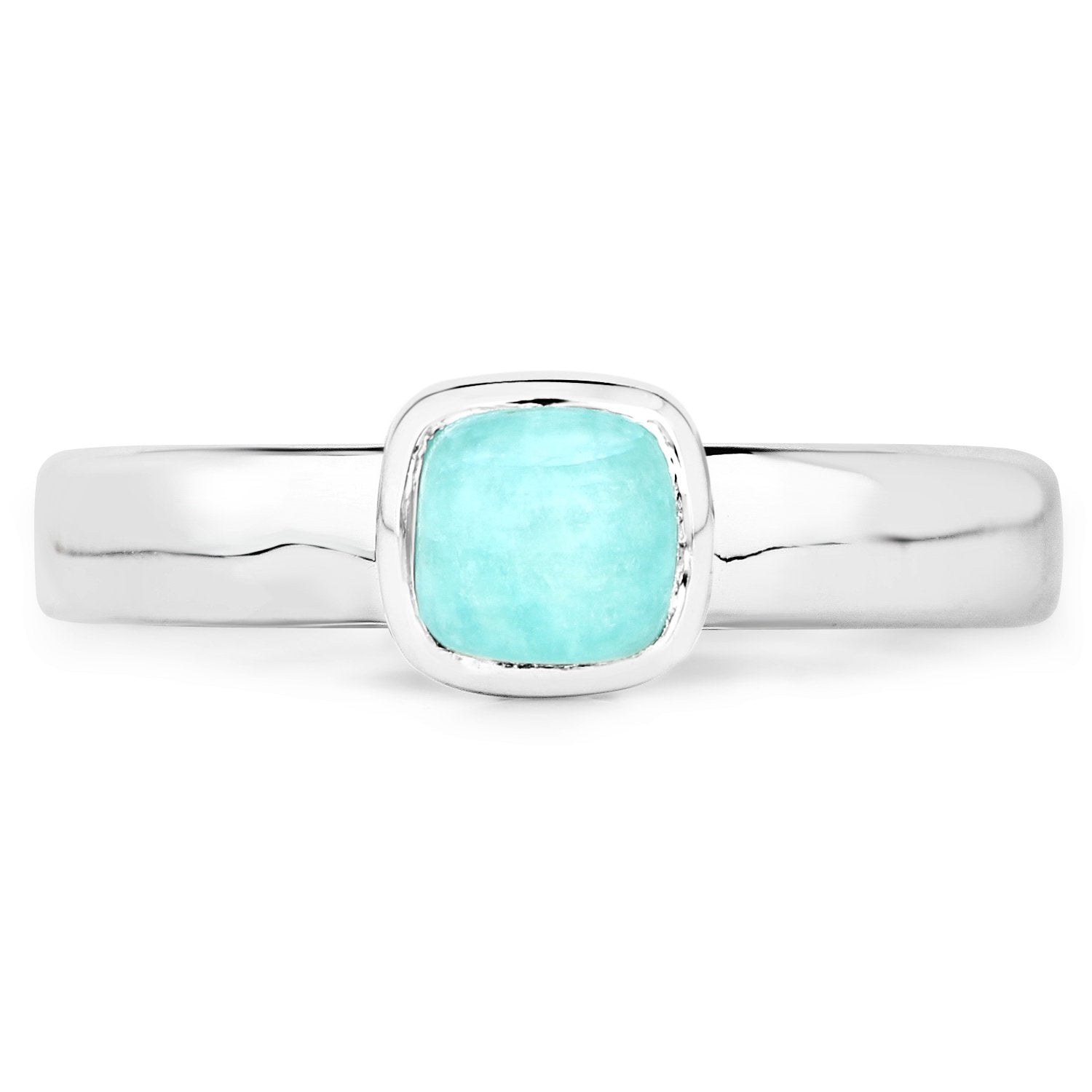 LoveHuang 0.69 Carats Genuine Amazonite Cushion Stacking Ring Solid .925 Sterling Silver With Rhodium Plating