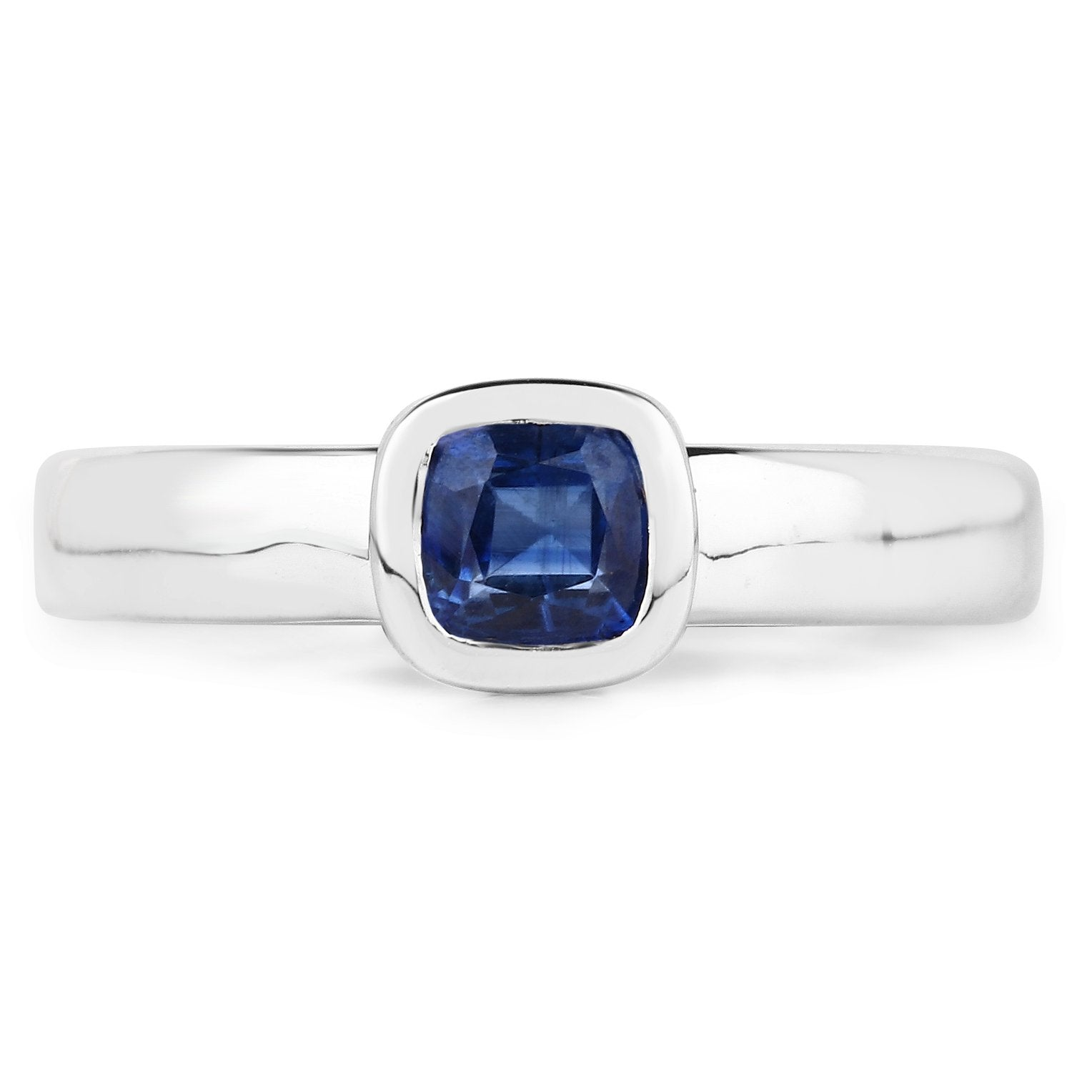 LoveHuang 0.63 Carats Genuine Kyanite Cushion Ring Solid .925 Sterling Silver With Rhodium Plating
