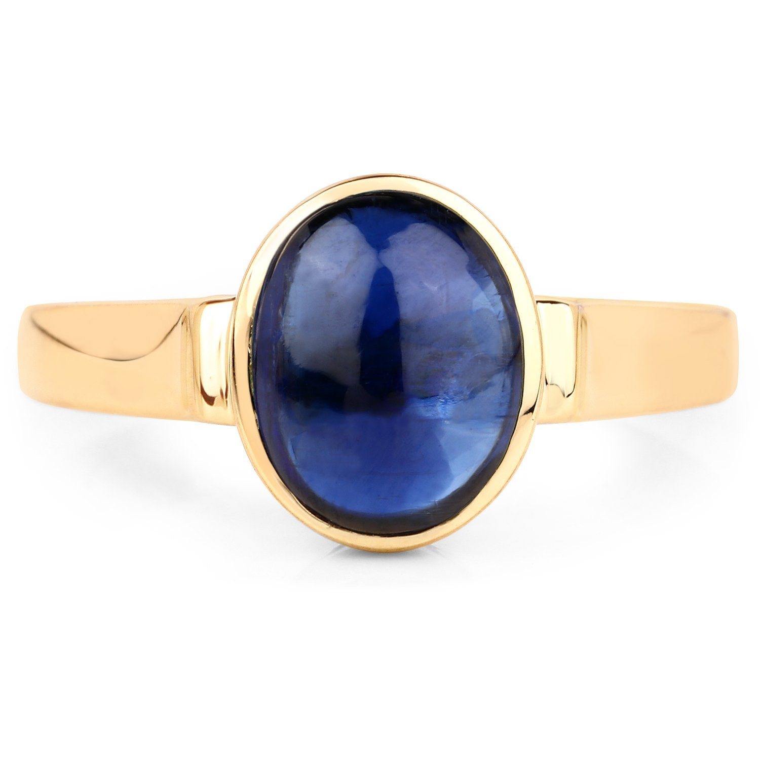 LoveHuang 2.02 Carats Genuine Kyanite Oval Statement Ring Solid .925 Sterling Silver With 18KT Yellow Gold Plating