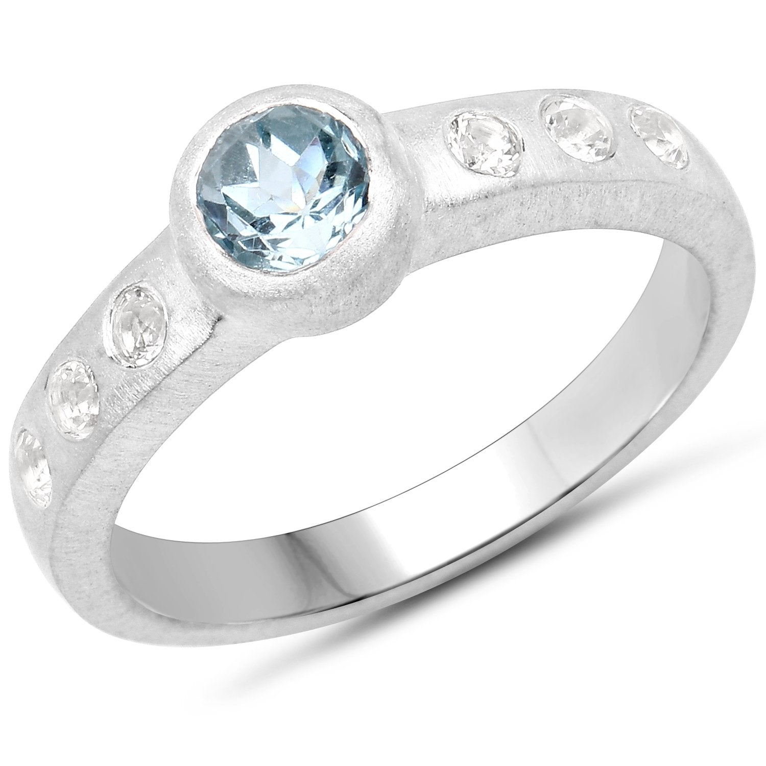 LoveHuang 0.76 Carats Genuine Blue Topaz and White Topaz Matte Finish Ring Solid .925 Sterling Silver With Rhodium Plating