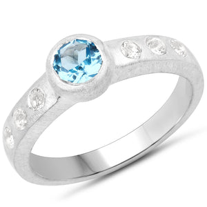 LoveHuang 0.76 Carats Genuine Swiss Blue Topaz and White Topaz Matte Finish Ring Solid .925 Sterling Silver With Rhodium Plating