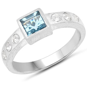 LoveHuang 0.89 Carats Genuine Blue Topaz and White Topaz Matte Finish Ring Solid .925 Sterling Silver With Rhodium Plating