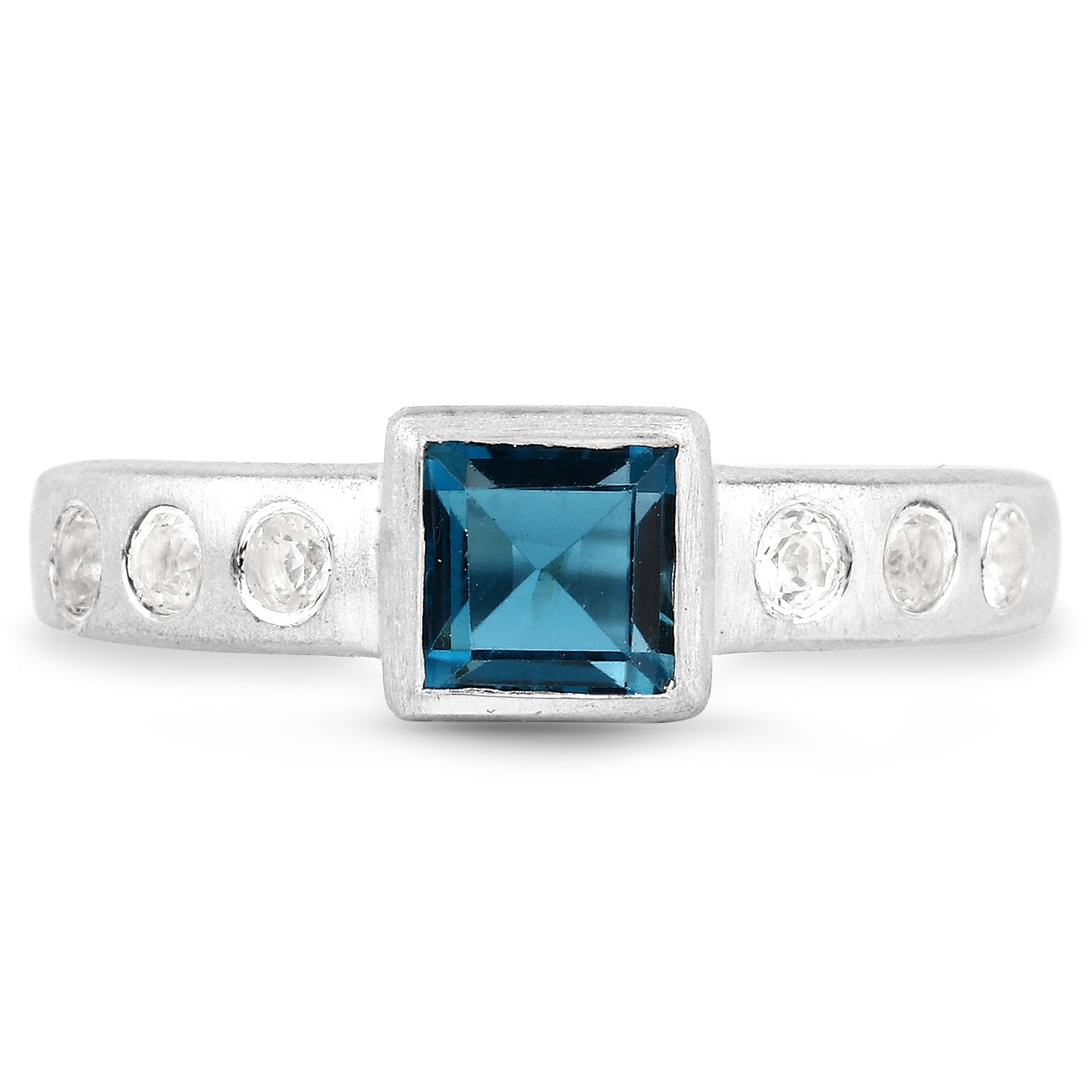 LoveHuang 0.94 Carats Genuine London Blue Topaz and White Topaz Matte Finish Ring Solid .925 Sterling Silver With Rhodium Plating
