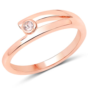 LoveHuang 0.06 Carats Genuine Morganite Minimalist Ring Solid .925 Sterling Silver With 18KT Rose Gold Plating