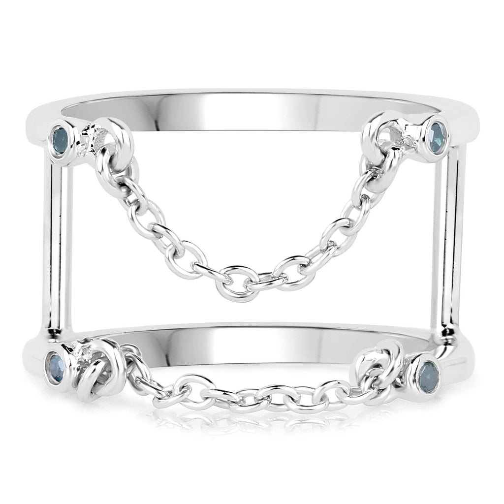 LoveHuang 0.04 Carats Genuine Blue Diamond (I-J, I2-I3) Dangling Chain Ring Solid .925 Sterling Silver With Rhodium Plating