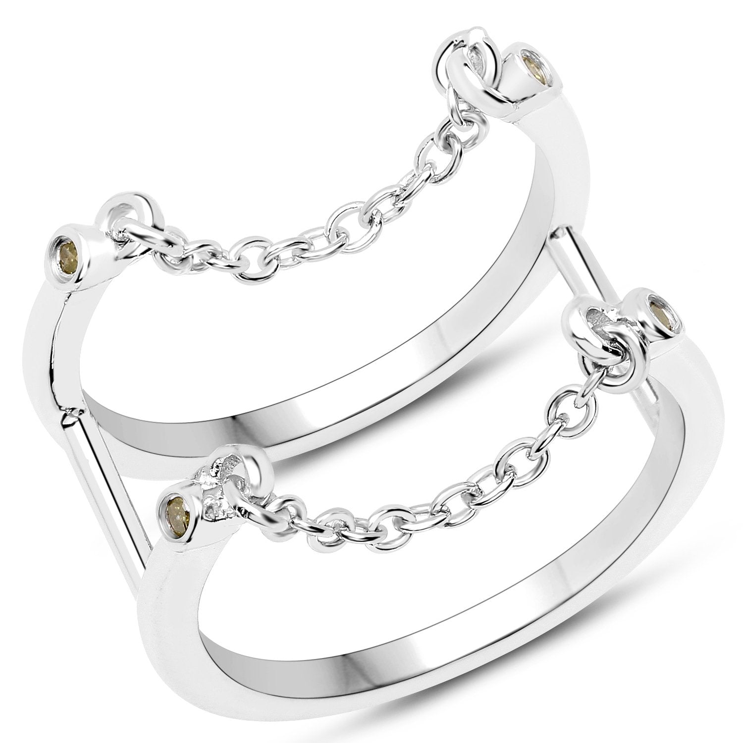 LoveHuang 0.04 Carats Genuine Yellow Diamond (I-J, I2-I3) Dangling Chain Ring Solid .925 Sterling Silver With Rhodium Plating