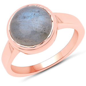 LoveHuang 3.56 Carats Genuine Labradorite Statement Ring Solid .925 Sterling Silver With 18KT Rose Gold Plating