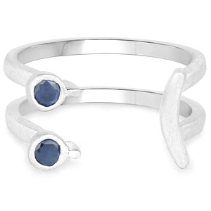 LoveHuang 0.11 Carats Genuine Blue Sapphire Emoji Ring Solid .925 Sterling Silver With Rhodium Plating, Matte Finish