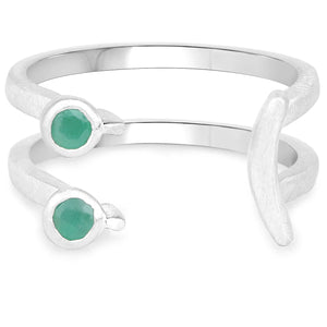 LoveHuang 0.10 Carats Genuine Emerald Emoji Ring Solid .925 Sterling Silver With Rhodium Plating, Matte Finish