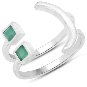 LoveHuang 0.27 Carats Genuine Emerald Emoji Ring Solid .925 Sterling Silver With Rhodium Plating, Matte Finish