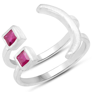 LoveHuang 0.33 Carats Genuine Ruby Emoji Ring Solid .925 Sterling Silver With Rhodium Plating, Matte Finish