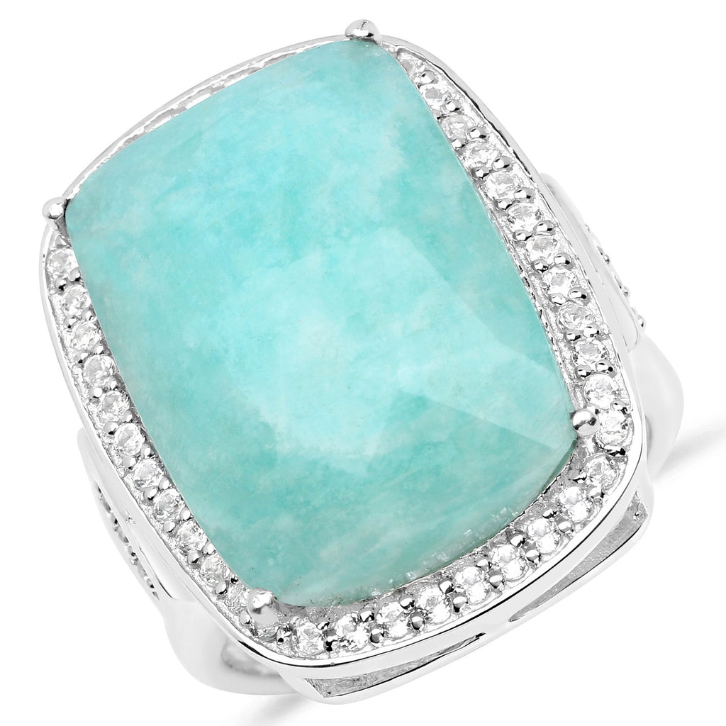 LoveHuang 12.84 Carats Genuine Amazonite and White Topaz Statement Ring Solid .925 Sterling Silver With Rhodium Plating
