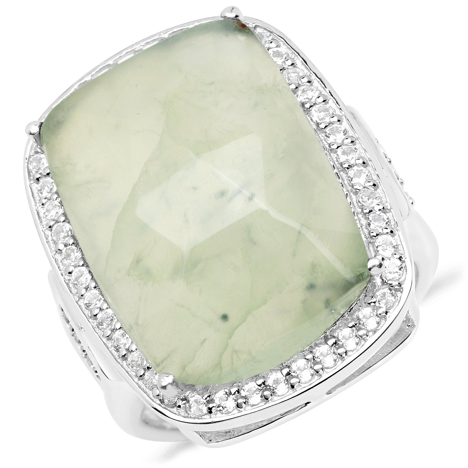 LoveHuang 13.88 Carats Genuine Prehnite and White Topaz Statement Ring Solid .925 Sterling Silver With Rhodium Plating