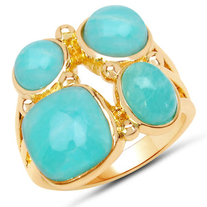 LoveHuang 5.97 Carats Genuine Amazonite Bubble Ring Solid .925 Sterling Silver With 18KT Yellow Gold Plating