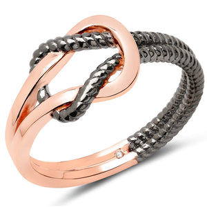 LoveHuang 0.01 Carats Genuine White Diamond (I-J, I2-I3) Knot Ring Solid .925 Sterling Silver With 18KT Rose Gold Plating