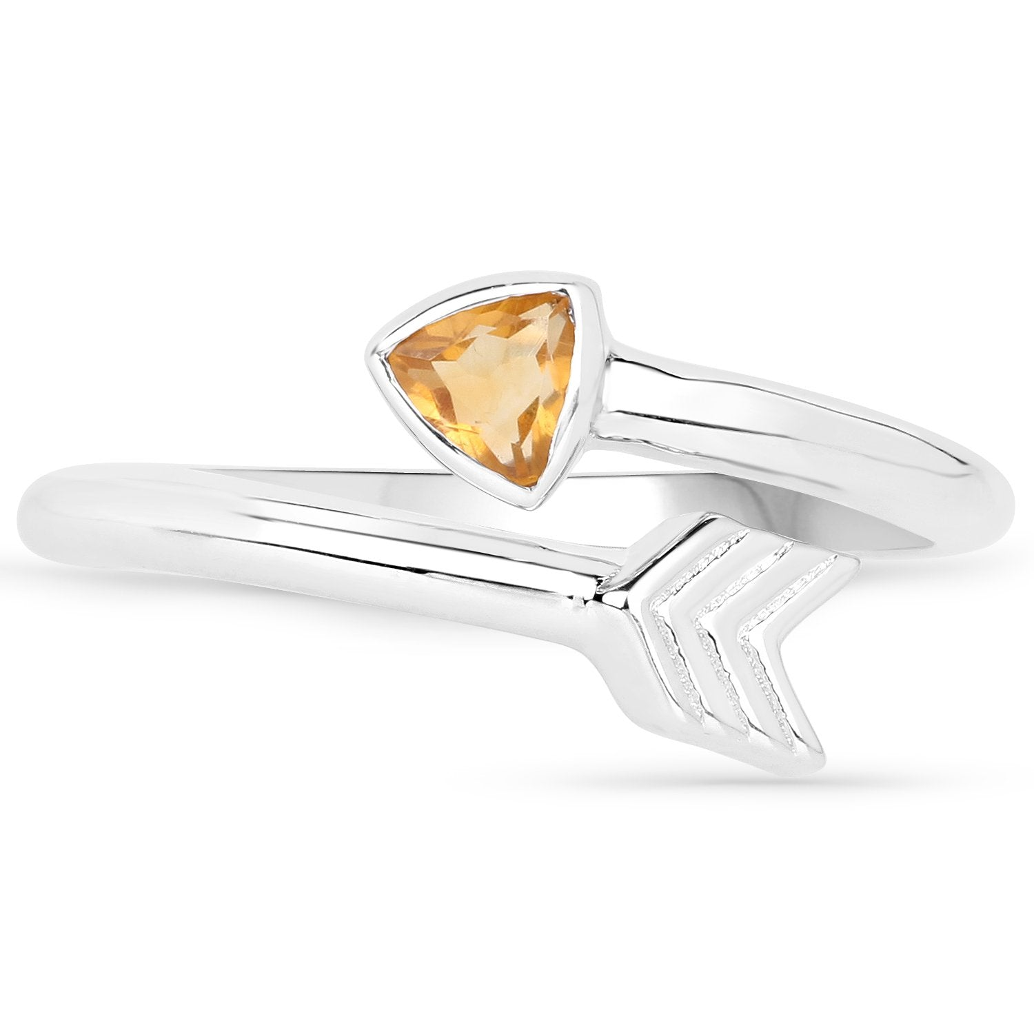 LoveHuang 0.23 Carats Genuine Citrine Arrow Ring Solid .925 Sterling Silver With Rhodium Plating