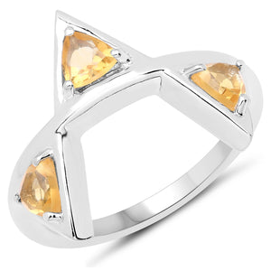 LoveHuang 0.68 Carats Genuine Citrine Trillion Ring Solid .925 Sterling Silver With Rhodium Plating