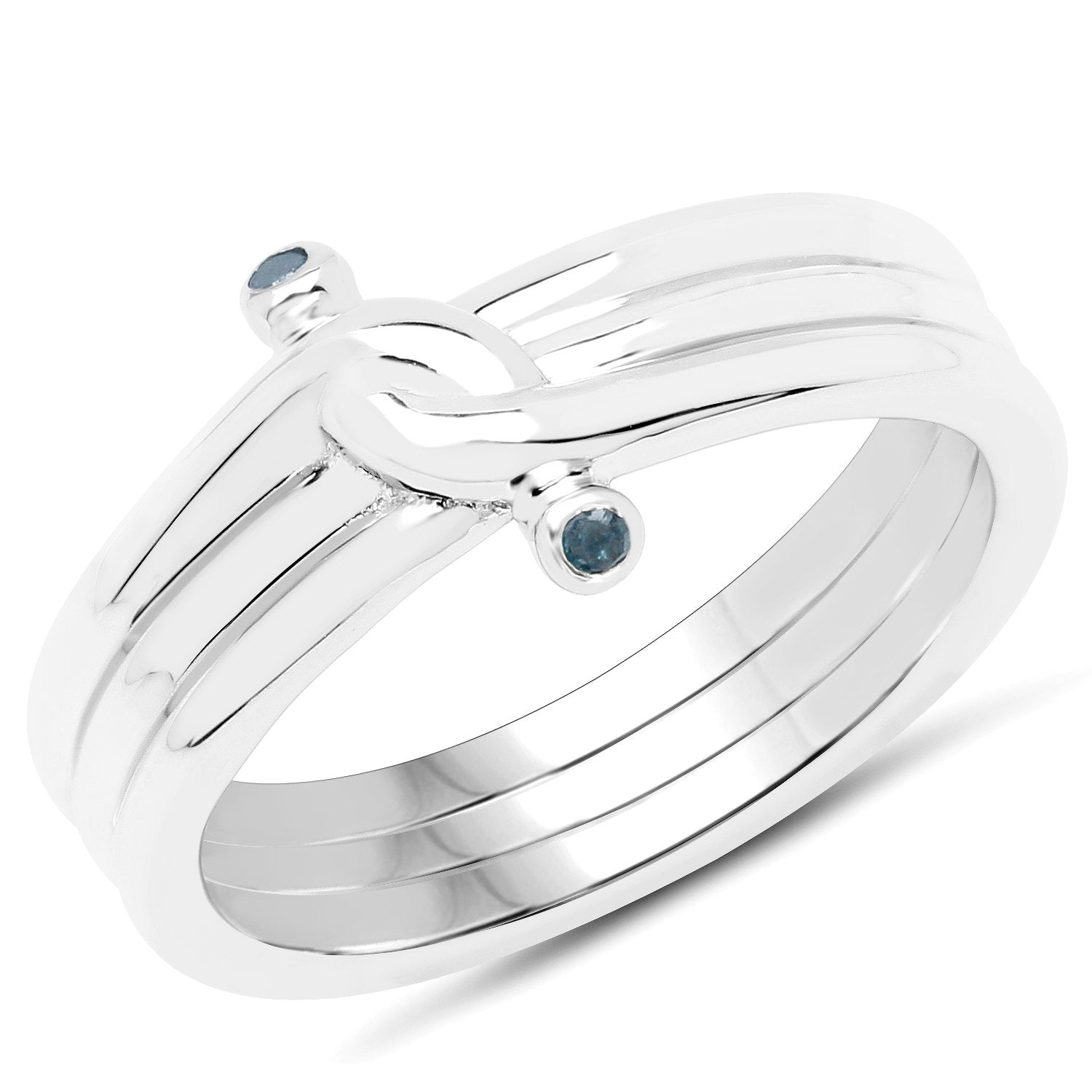 LoveHuang 0.01 Carats Genuine Blue Diamond (I-J, I2-I3) Knot Ring Solid .925 Sterling Silver With Rhodium Plating